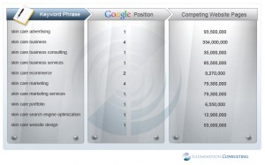 SEOReport Illum1 300x187 Skin Care Google Search Engine Rankings For Illumination Consulting