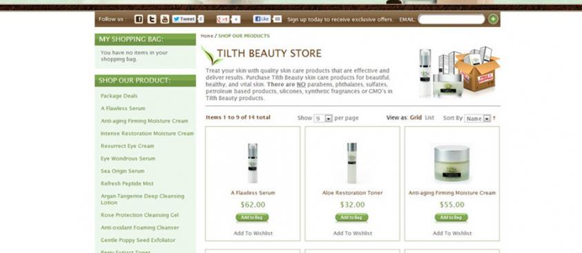 E-Commerce Design Tilth Beauty Skincare