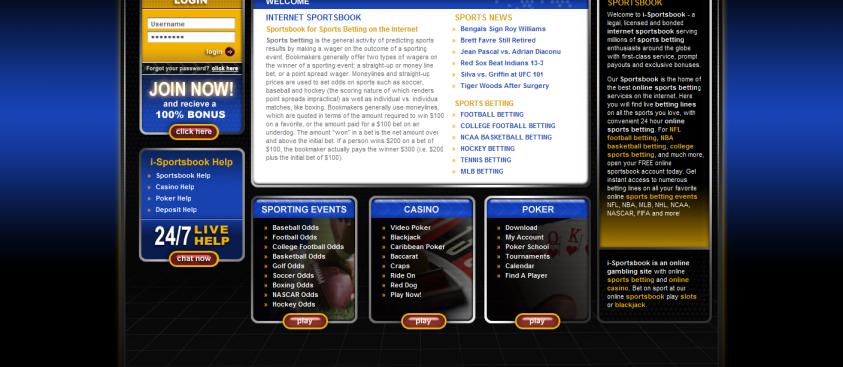 iSportsbook Website