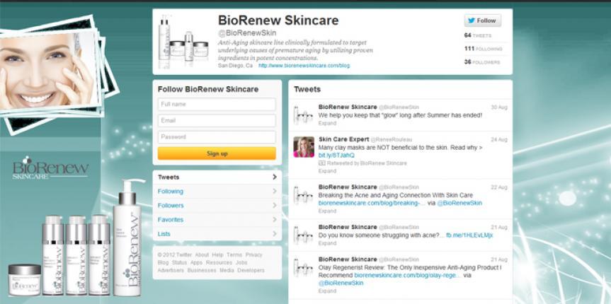 Social Media Design Twitter Biorenew Skincare